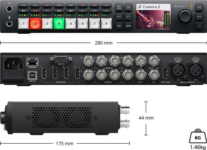 Blackmagic ATEM Television Studio HD - Especificaciones físicas