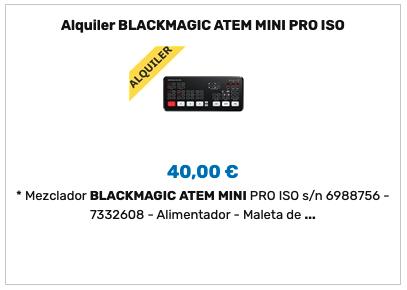 Alquiler ATEM Mini Pro ISO