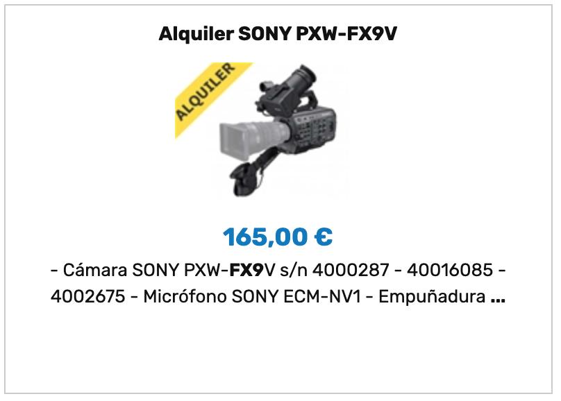 Alquiler SONY FX9