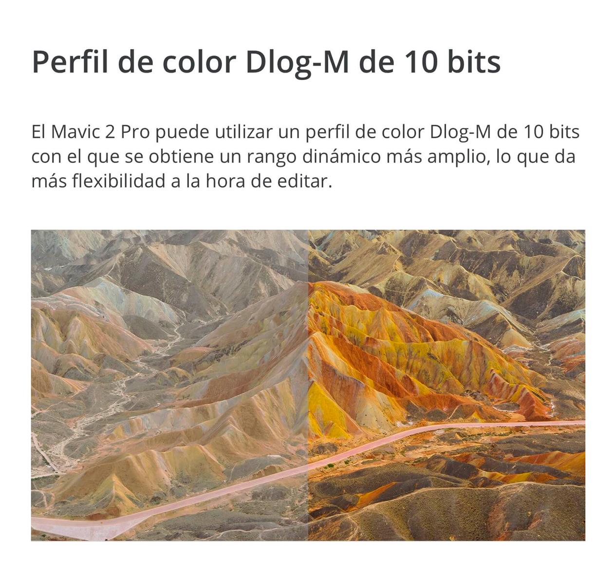 DJI MAVIC 2 PRO - Perfil de color Dlog-M de 10 bits