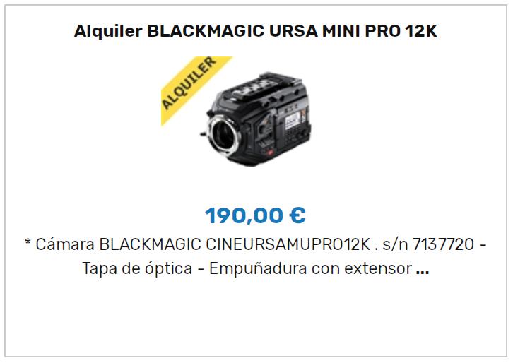 Alquiler Blackmagic URSA Mini Pro 12K