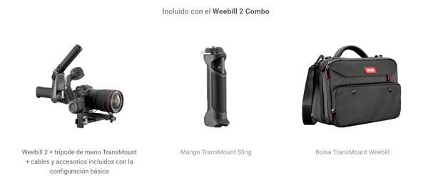 ZHIYUN-Weebill-2-Combo. Incluye Weebill2, empuñadura Sling y una bolsa de transporte