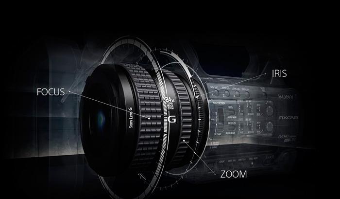 Sony-HXR-NX100-Tres-anillos-de-objetivo
